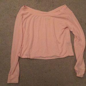 Soft raw hem off-shoulder crop sweater